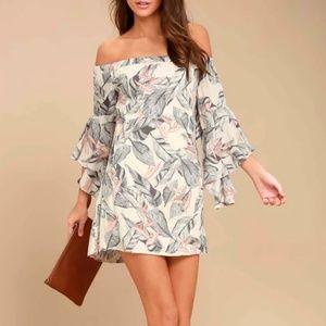 Lulu's Floral Print Off The Shoulder Dress
